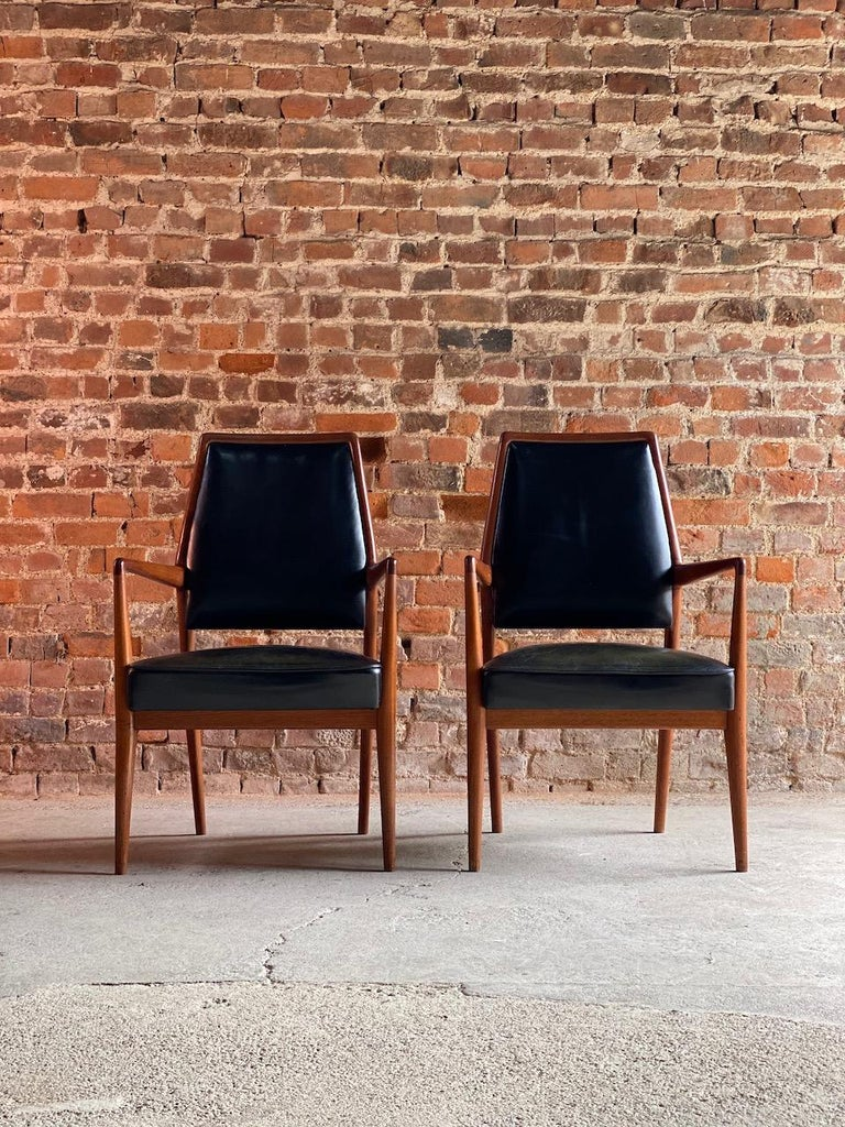 Midcentury Danish Teak and Leather Desk Chairs Armchairs, circa 1960s For Sale 1