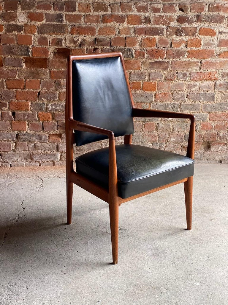 Midcentury Danish Teak and Leather Desk Chairs Armchairs, circa 1960s For Sale 3