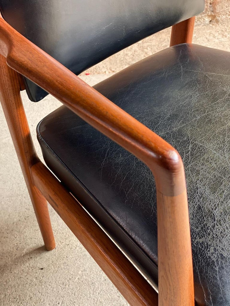 Midcentury Danish Teak and Leather Desk Chairs Armchairs, circa 1960s For Sale 4