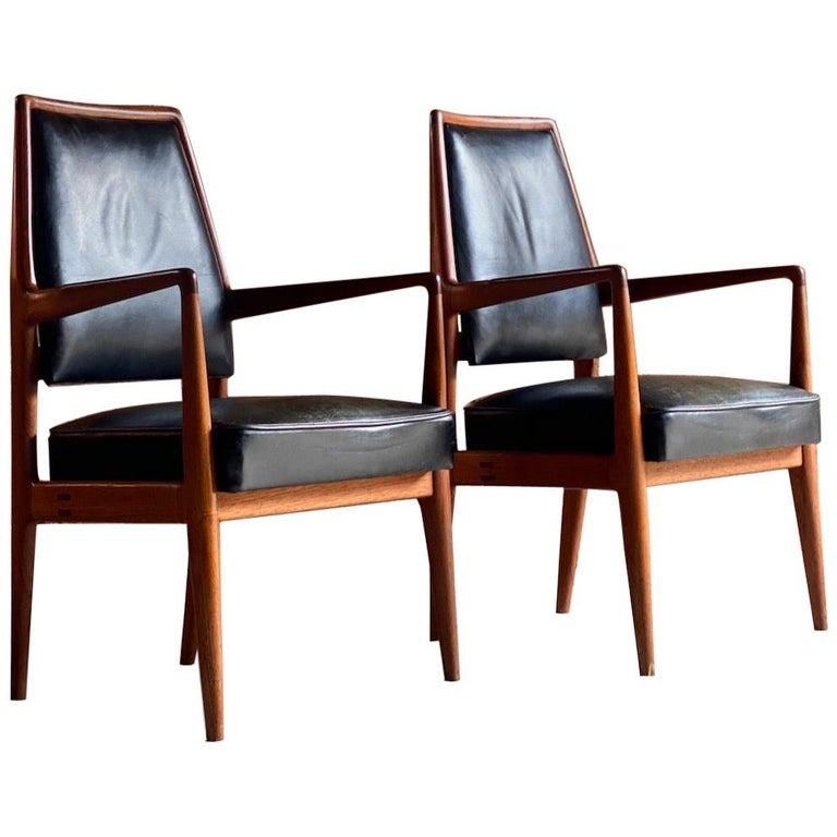 Midcentury Danish Teak and Leather Desk Chairs Armchairs, circa 1960s For Sale