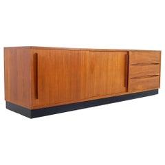 Mid Century Danish Teak Low Sideboard Buffet Credenza