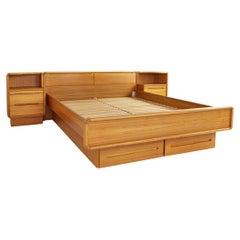 Mid Century Danish Teak Queen Platform Storage Bed with Nightstands