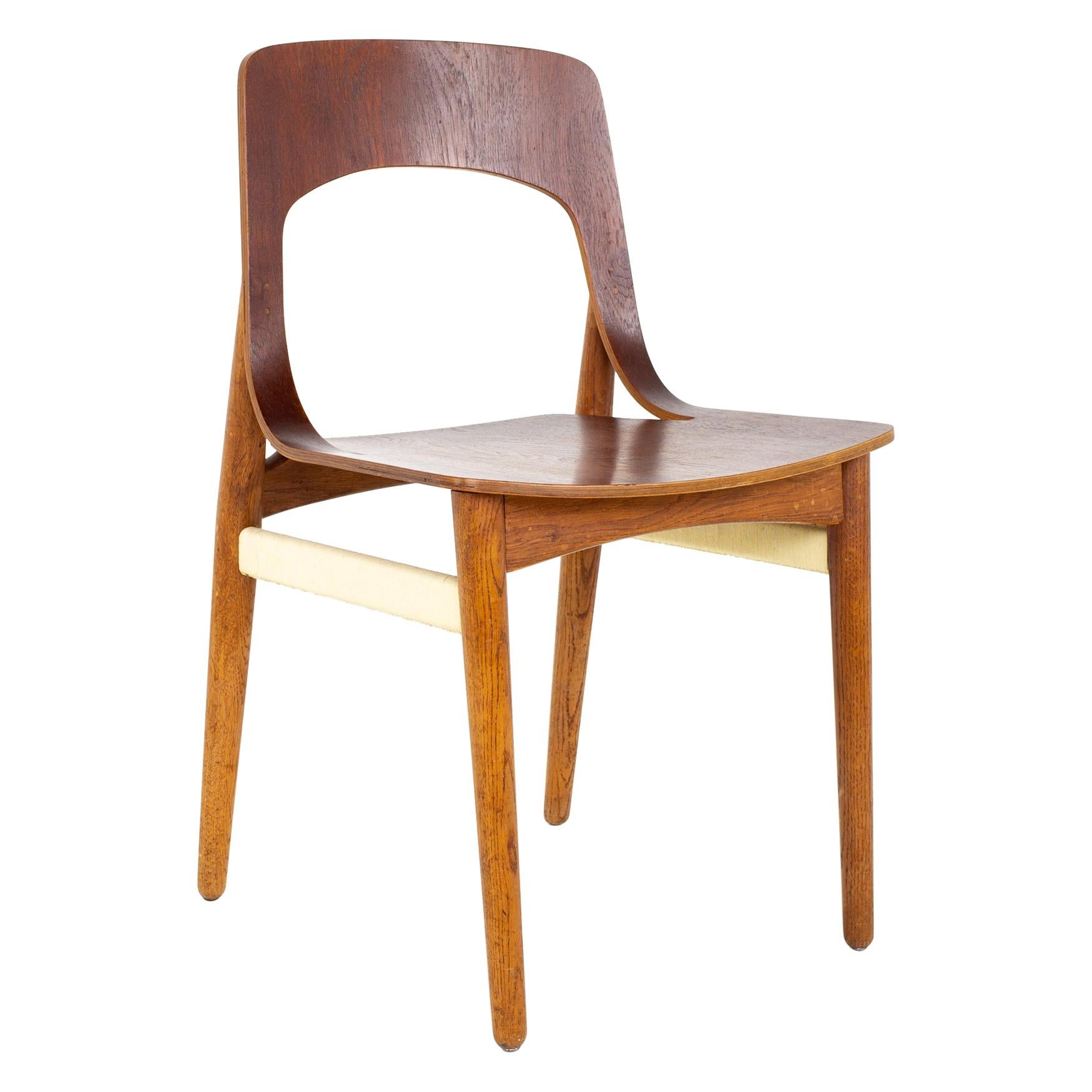 Mid Century Danish Teak Roped Bentwood Dining Side Chair