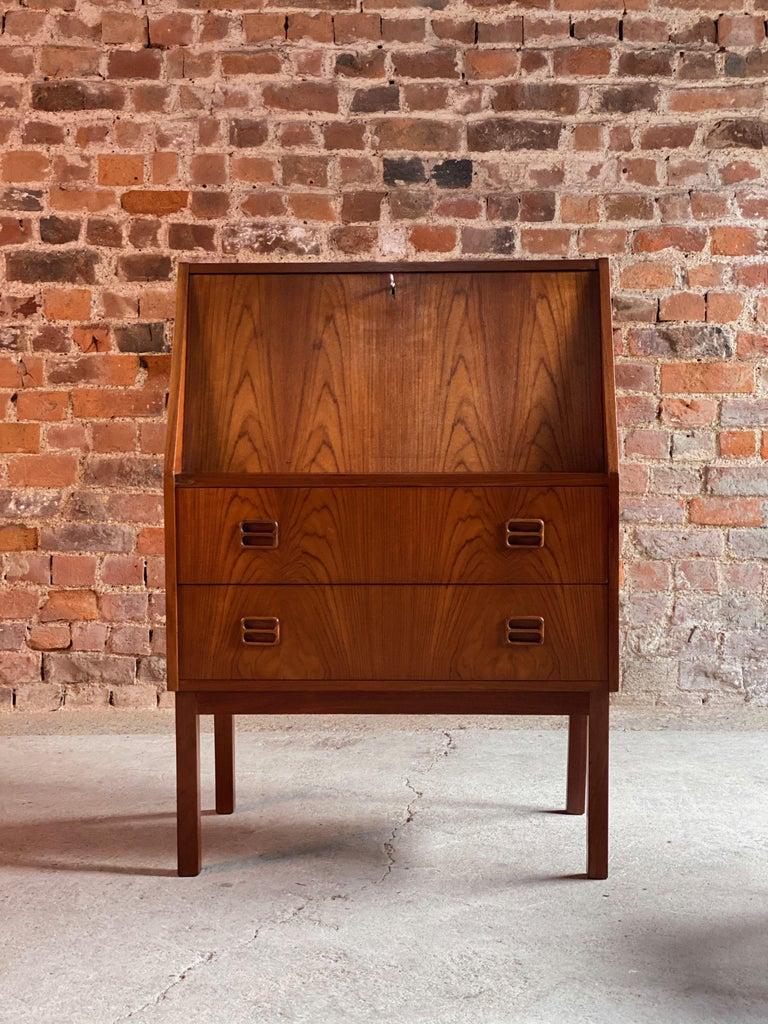 Mid-Century Modern Midcentury Danish Teak Writing Bureau & Moller Style Chair, Denmark, circa 1970 For Sale