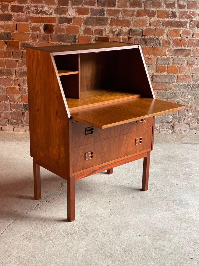 Midcentury Danish Teak Writing Bureau & Moller Style Chair, Denmark, circa 1970 For Sale 1