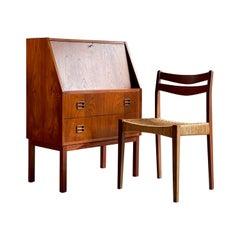 Midcentury Danish Teak Writing Bureau & Moller Style Chair, Denmark, circa 1970