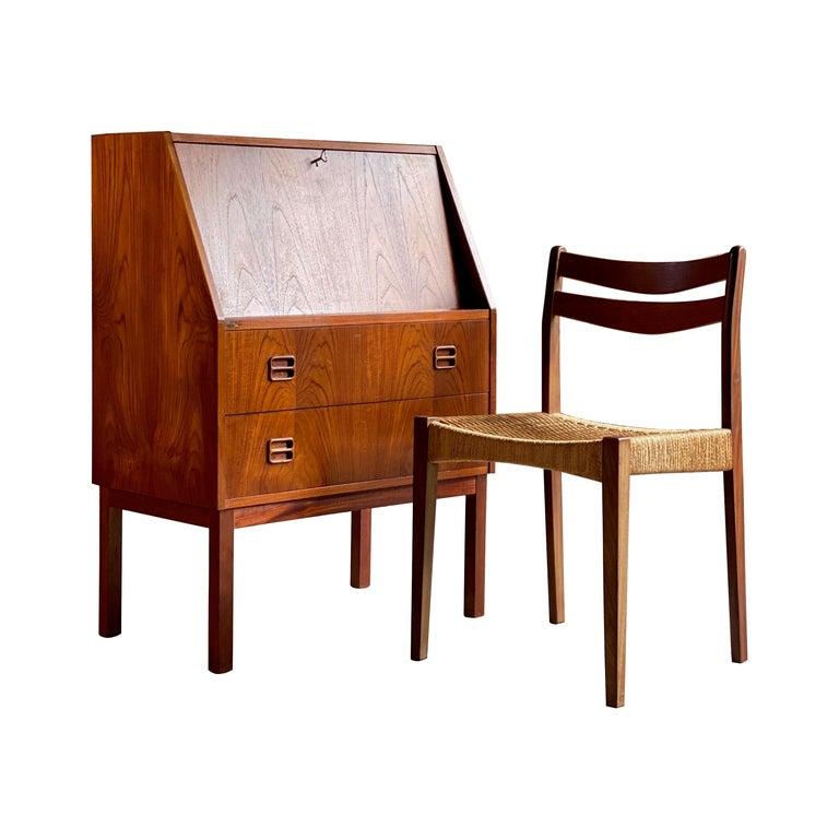 Midcentury Danish Teak Writing Bureau & Moller Style Chair, Denmark, circa 1970 For Sale