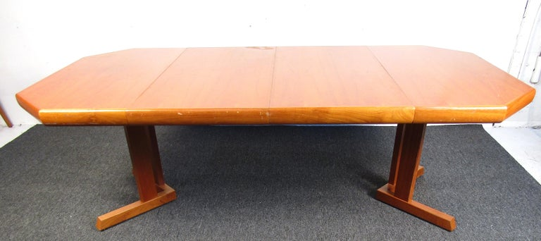 Upholstery Mid-Century Danish Teak Dining Set with Four Chairs For Sale