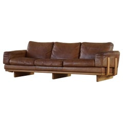 Mid Century Danish Three Seater Sofa in Leather and Beech Frame, 1960s