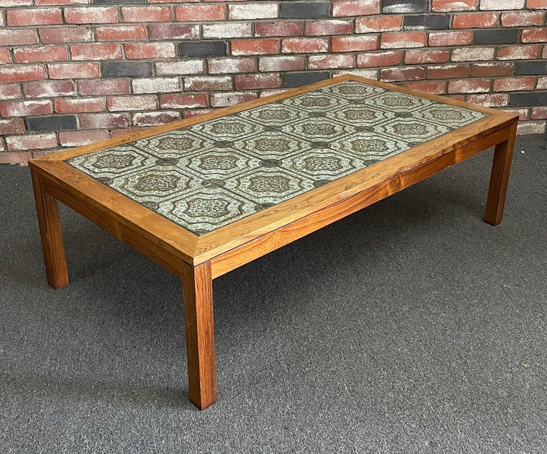 Mid-Century Modern Mid-Century Danish Tile and Rosewood Coffee Table by Findahls Møbelfabrik For Sale