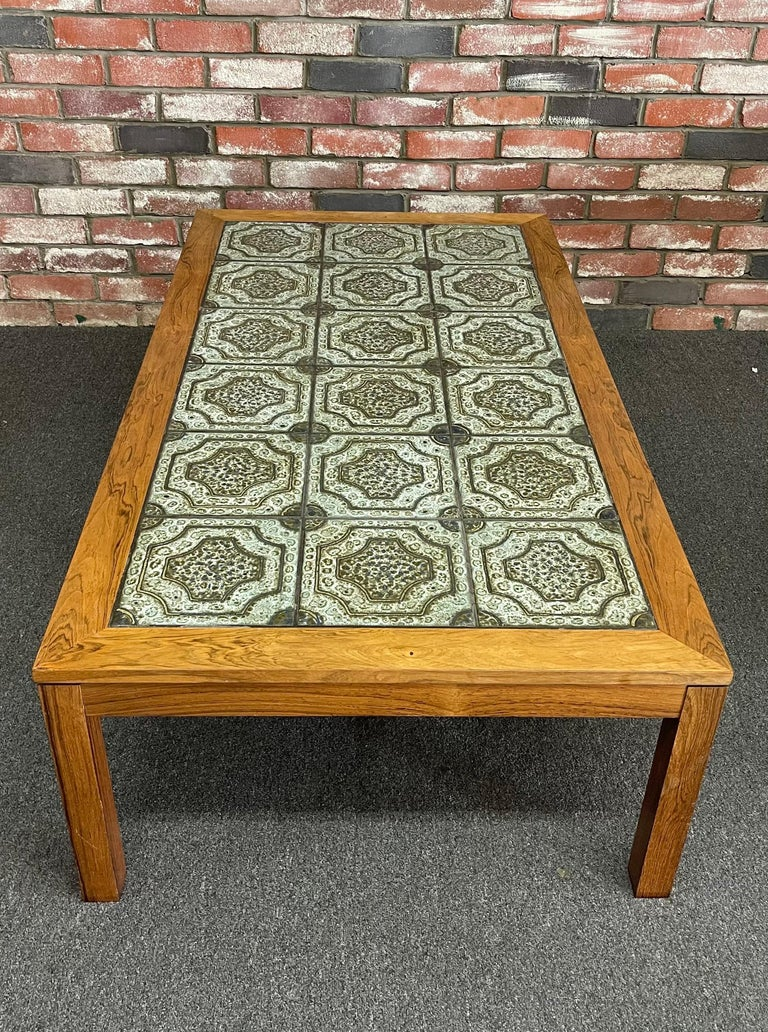 Mid-Century Danish Tile and Rosewood Coffee Table by Findahls Møbelfabrik In Good Condition For Sale In San Diego, CA