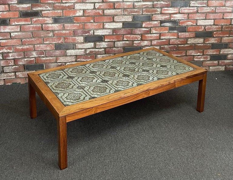 20th Century Mid-Century Danish Tile and Rosewood Coffee Table by Findahls Møbelfabrik For Sale