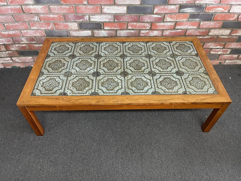 Mid-Century Danish Tile and Rosewood Coffee Table by Findahls Møbelfabrik For Sale 1