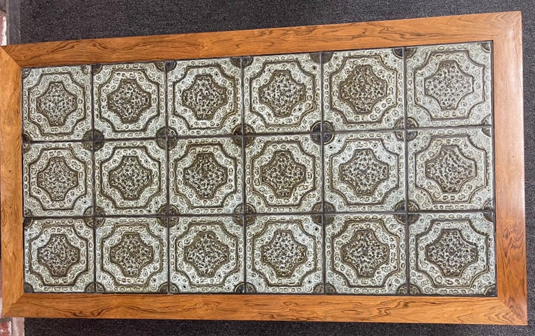 Mid-Century Danish Tile and Rosewood Coffee Table by Findahls Møbelfabrik For Sale 3