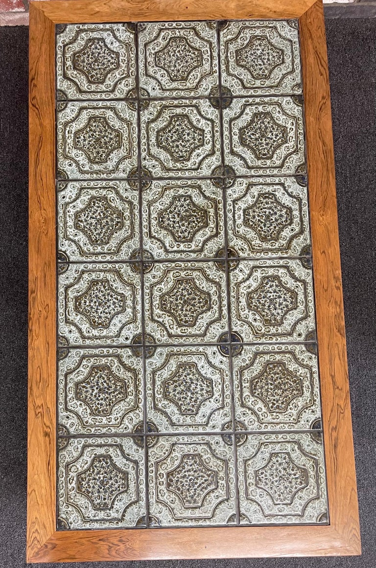 Mid-Century Danish Tile and Rosewood Coffee Table by Findahls Møbelfabrik For Sale 4