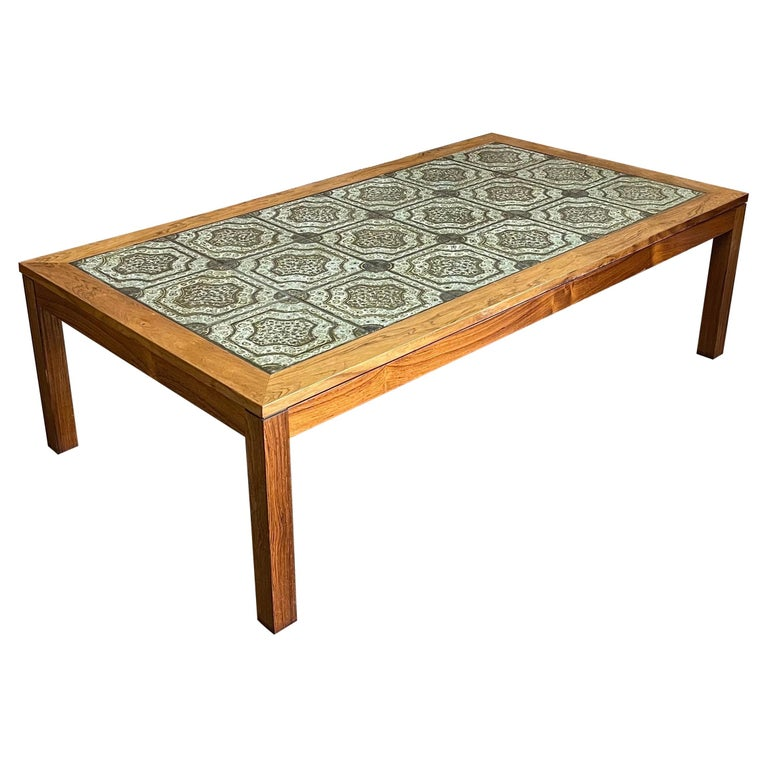 Mid-Century Danish Tile and Rosewood Coffee Table by Findahls Møbelfabrik For Sale