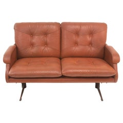 Mid Century Danish Two Seater Cognac Leather Sofa