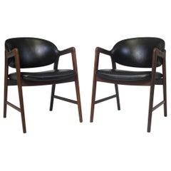 Midcentury Danish Walnut Armchairs in Black