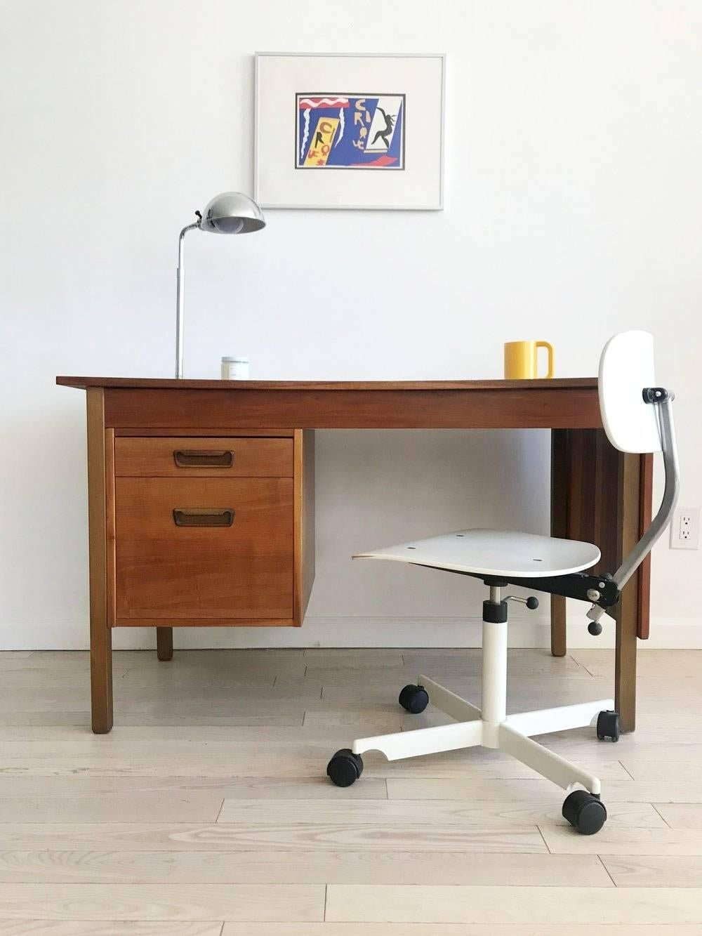 A Danish Walnut Beauty. Two Drawer Desk With Expandable Writing Surface In  Superb Vintage