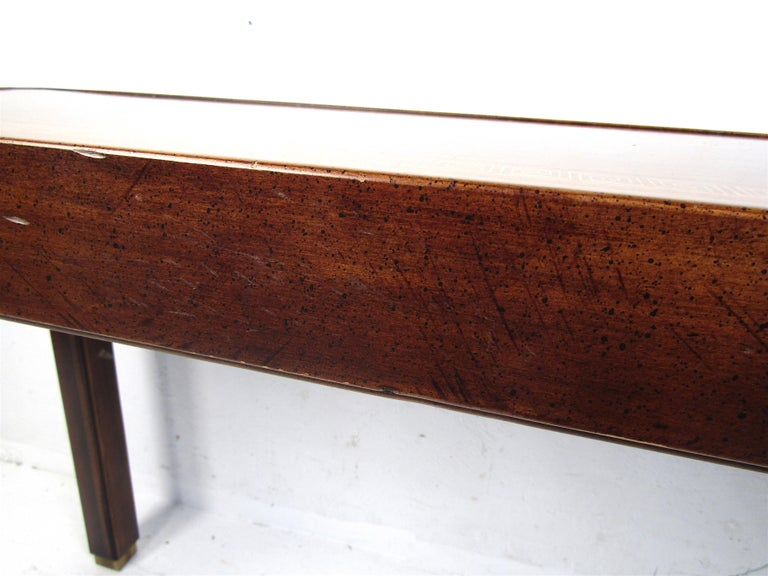 Midcentury Dark Wood Console Table In Good Condition For Sale In Brooklyn, NY
