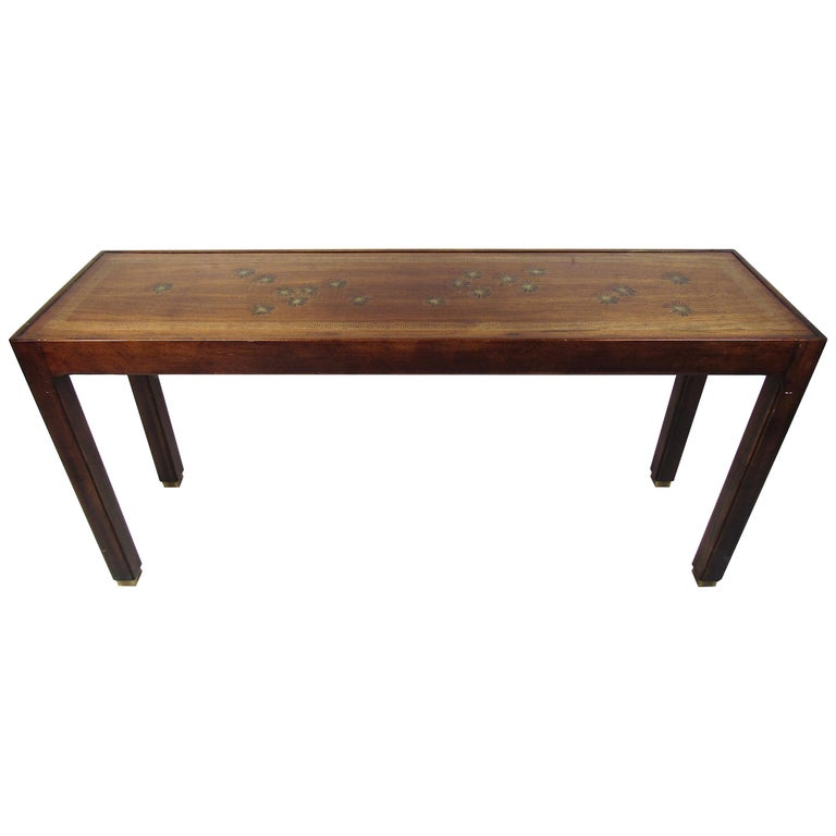 Midcentury Dark Wood Console Table For Sale
