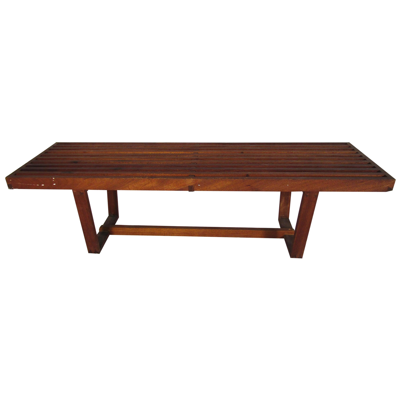 Midcentury Dark Wood Slat Bench