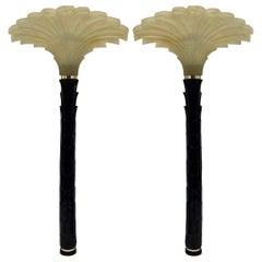 Midcentury Deco Style Palm Tree Sconces, a Pair