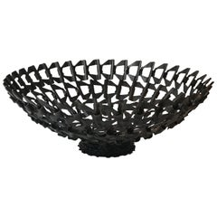 Mid-Century Decorative Bowl Made from Repurposed Iron Conveyor Belt