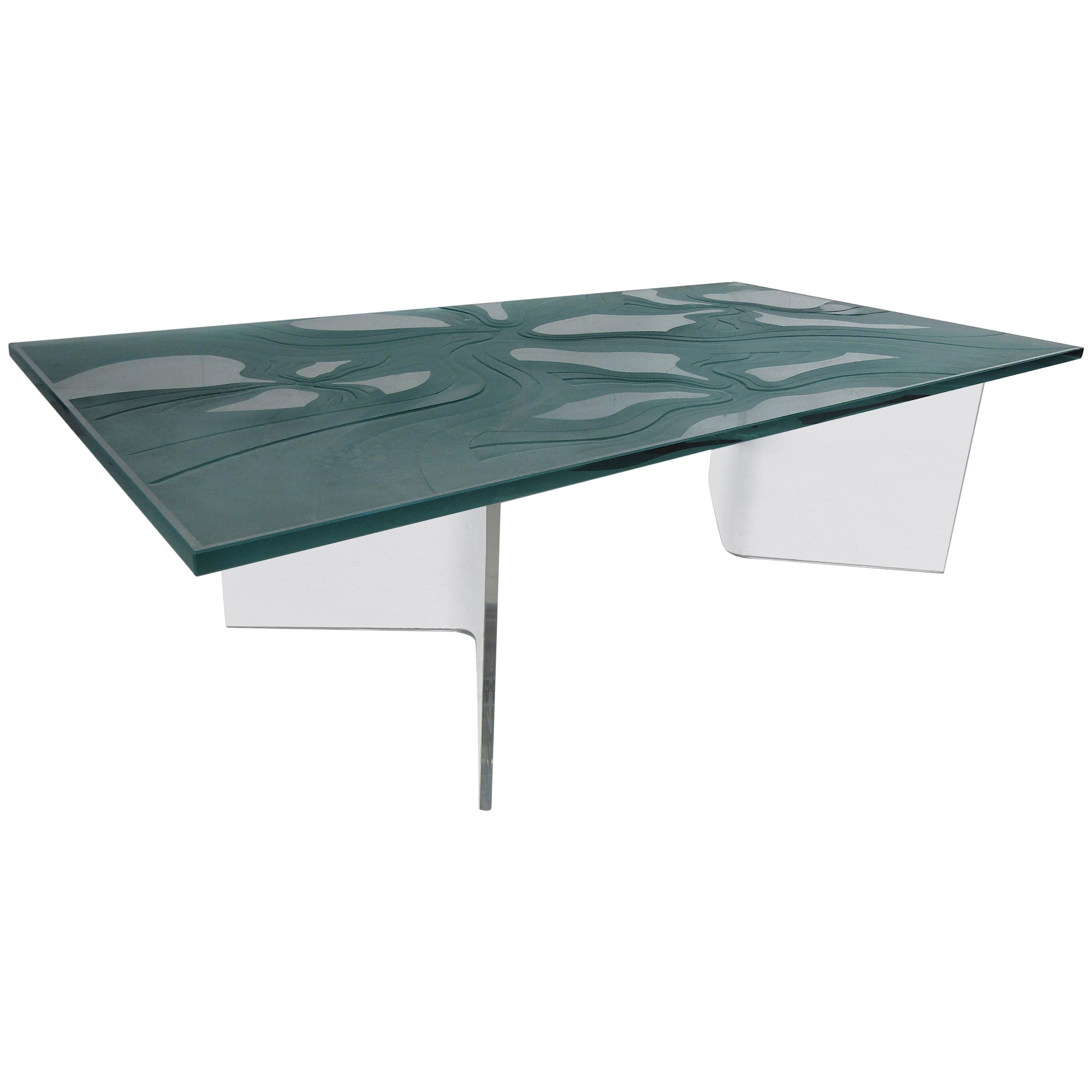 Midcentury Decorative Frosted Glass Top Coffee Table