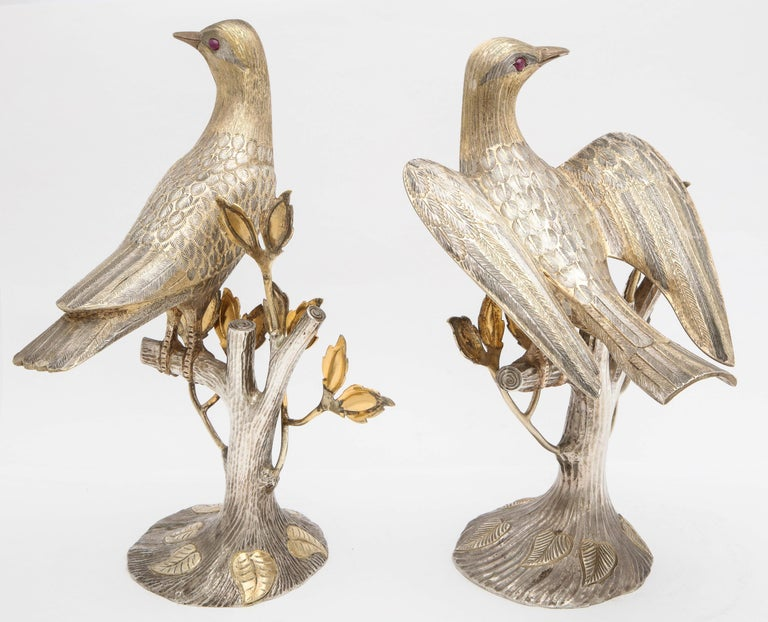 Midcentury Decorative Pair of Sterling Silver Table Birds by Tane For Sale 3