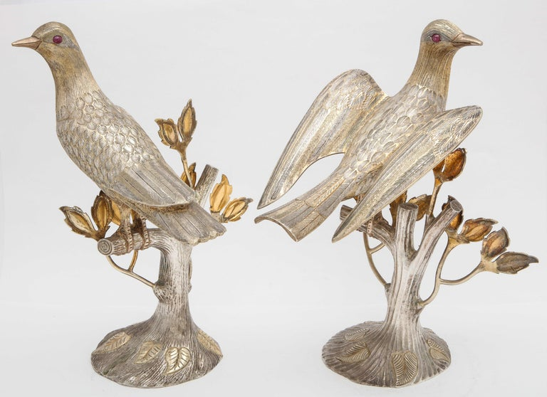 Midcentury Decorative Pair of Sterling Silver Table Birds by Tane For Sale 4