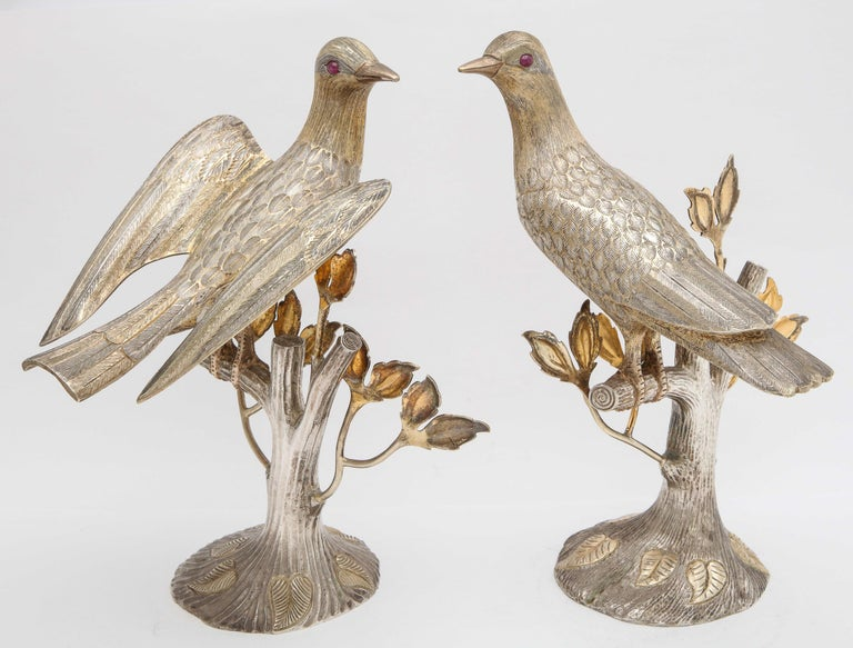 Midcentury Decorative Pair of Sterling Silver Table Birds by Tane For Sale 7
