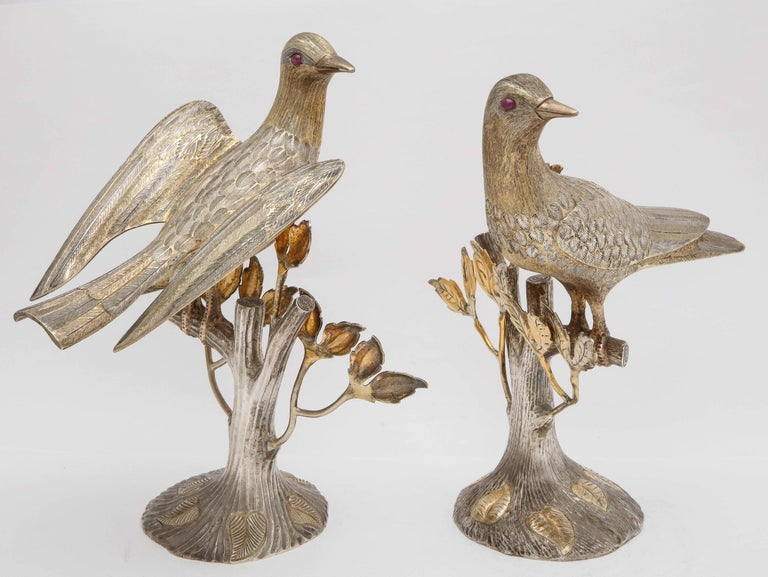 Midcentury Decorative Pair of Sterling Silver Table Birds by Tane For Sale 8