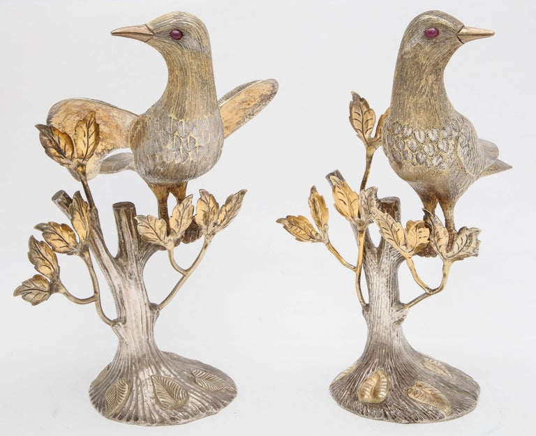 Midcentury Decorative Pair of Sterling Silver Table Birds by Tane For Sale 9