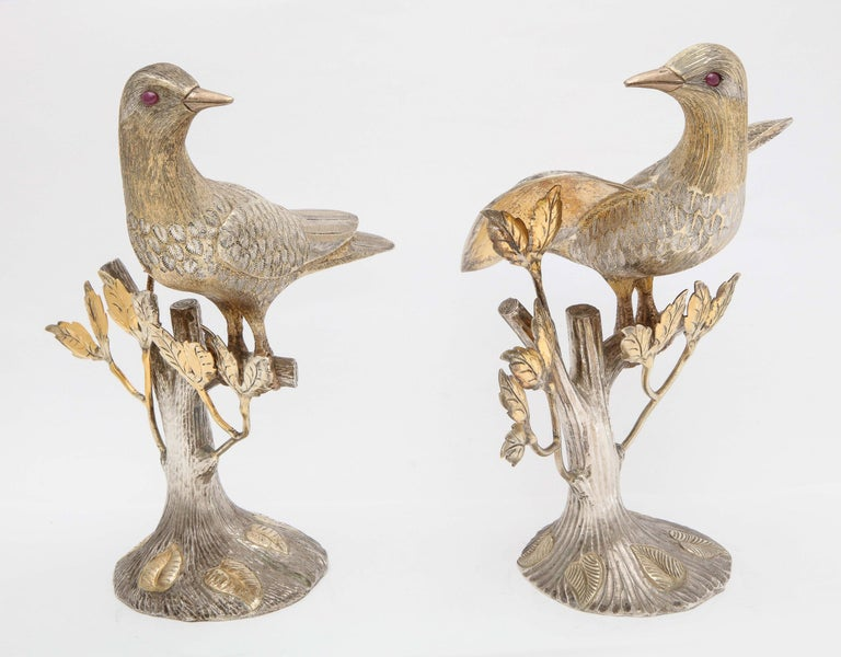 Mid-Century Modern Midcentury Decorative Pair of Sterling Silver Table Birds by Tane For Sale