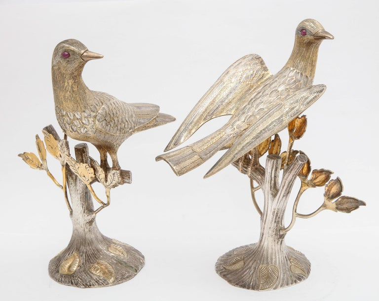 Mexican Midcentury Decorative Pair of Sterling Silver Table Birds by Tane For Sale