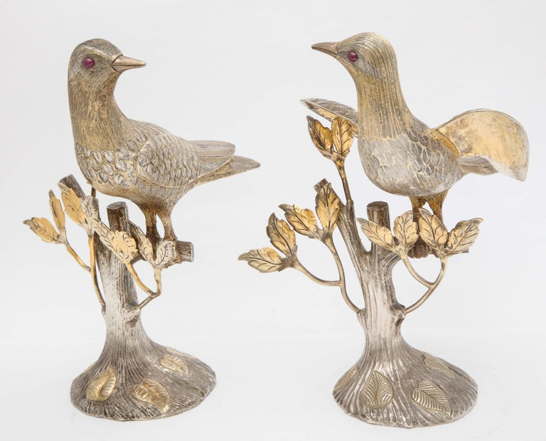 Gilt Midcentury Decorative Pair of Sterling Silver Table Birds by Tane For Sale