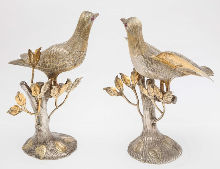 Mid-20th Century Midcentury Decorative Pair of Sterling Silver Table Birds by Tane For Sale