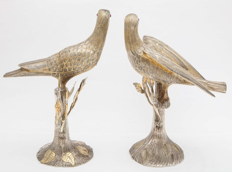 Midcentury Decorative Pair of Sterling Silver Table Birds by Tane For Sale 1