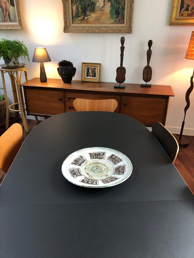 Mid-Century Modern Midcentury Decorative Platter with Flower Motif by Albert Thiry, circa 1960s For Sale