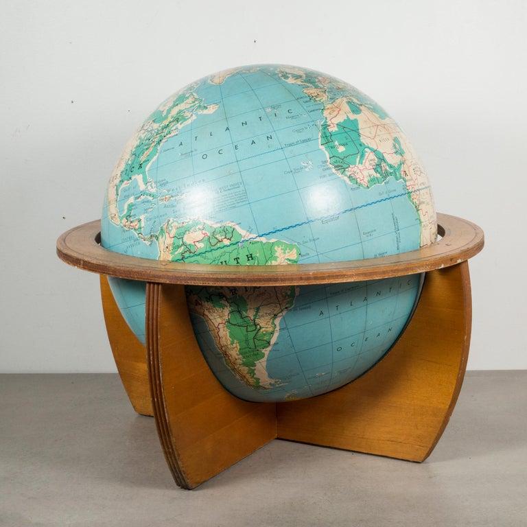 Mid-Century Modern Mid-Century Denoyer-Geppert Globe on Wooden Stand by C.1960 For Sale