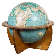 Mid-Century Denoyer-Geppert Globe on Wooden Stand by C.1960