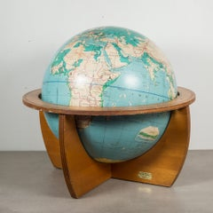 Mid-Century Denoyer-Geppert Globe on Wooden Stand by C.1960