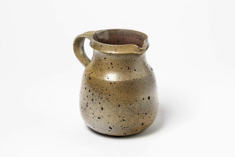 Midcentury Design Brown Stoneware Ceramic Pitcher by Robert Deblander, 1975 For Sale 1