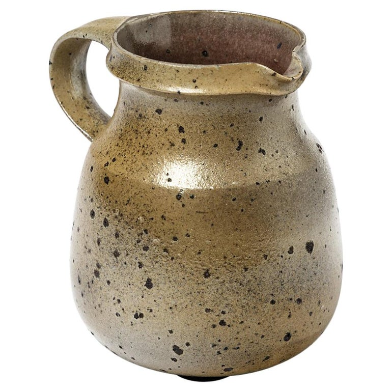 Midcentury Design Brown Stoneware Ceramic Pitcher by Robert Deblander, 1975 For Sale