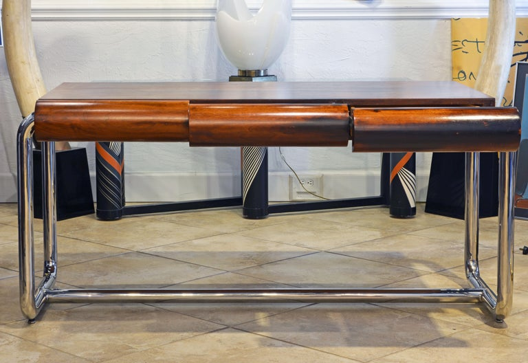 Mid-Century Modern Midcentury Design Chrome and Mahogany Desk by Leon Rosen for Pace Collection For Sale