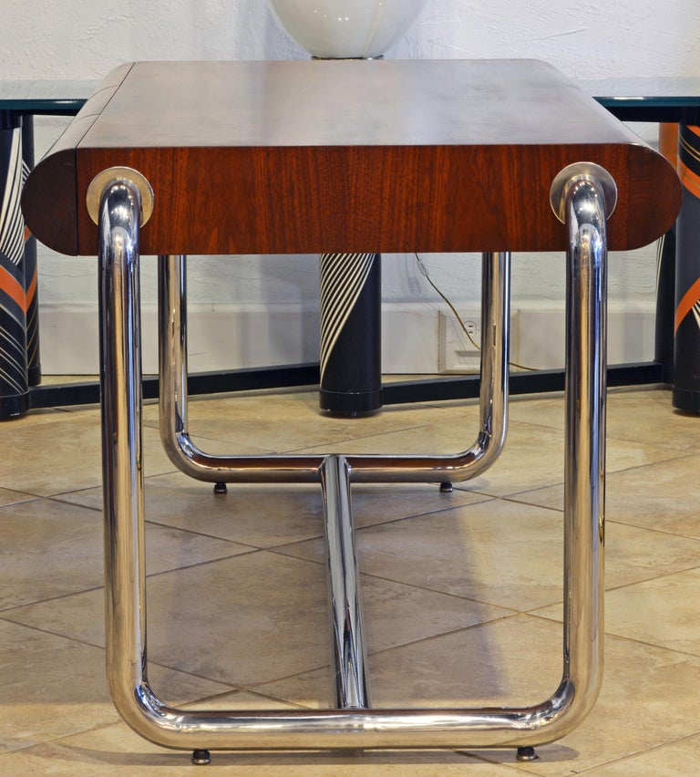 American Midcentury Design Chrome and Mahogany Desk by Leon Rosen for Pace Collection For Sale