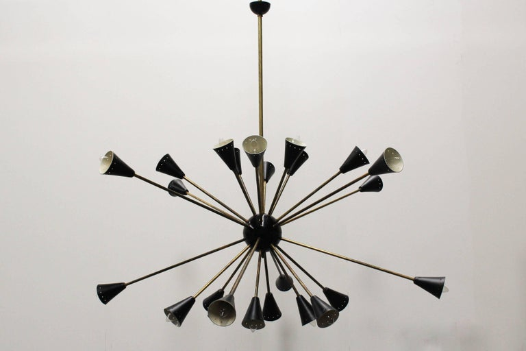 Midcentury design italian sputnik chandelier style of 1950s stilnovo 20th century midcentury design italian sputnik chandelier style of 1950s stilnovo black gold for sale aloadofball Image collections