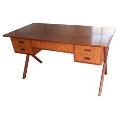 Mid Century Design Wood Desk with four drawers