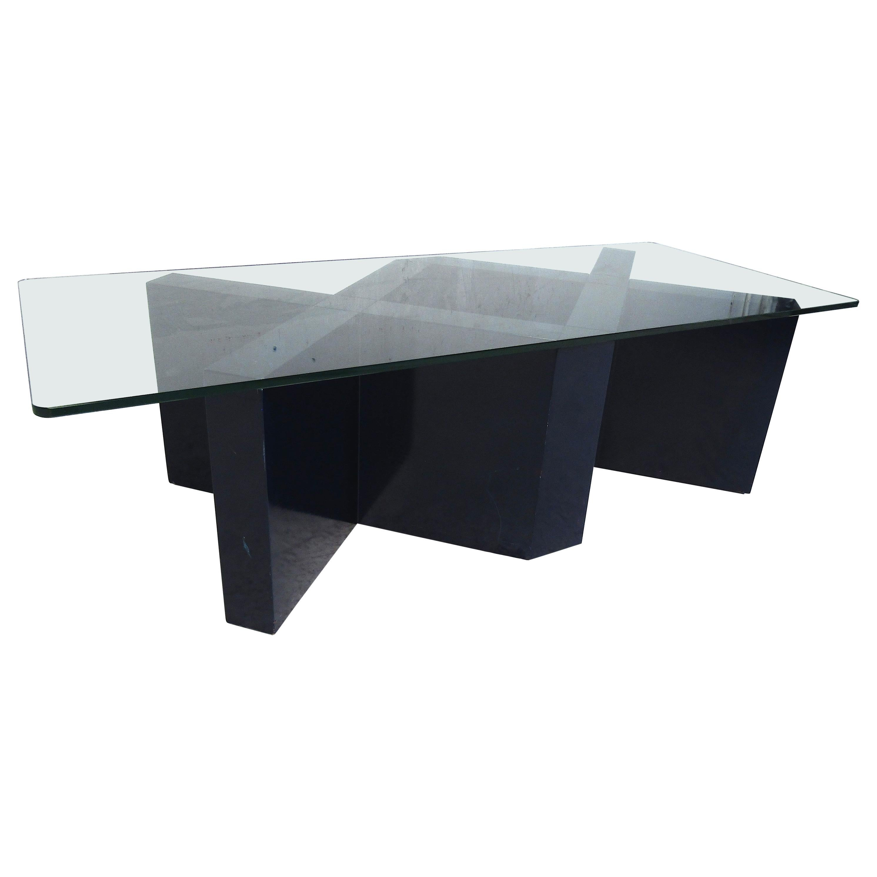Midcentury Designer Wood and Glass Coffee Table